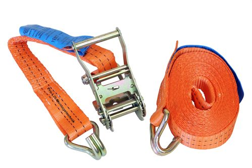 1000kg/2000kg lashing strap, 2 pieces, length 6m, with hook, orange, CL02J, 02084
