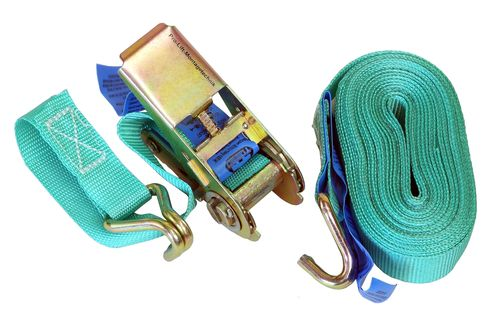 250kg/500kg lashing strap, 2 pieces, length 8m, with hook, green, CL005J, 02083