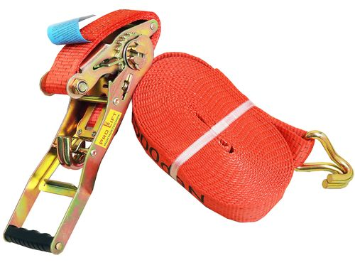 2500kg/5000kg lashing strap, 2 pieces, length 10m, with hook, red, CL0510NJ, 02192