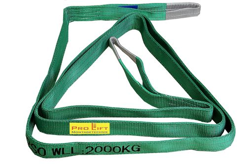 2t webbing sling, hoisting belt with 2 eyes, length 5m, 2 layers, WS25J, 02185