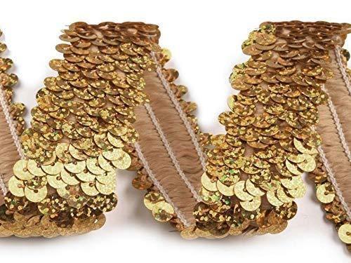 Paillettenborte elastisch 30mm, Hologramm gold