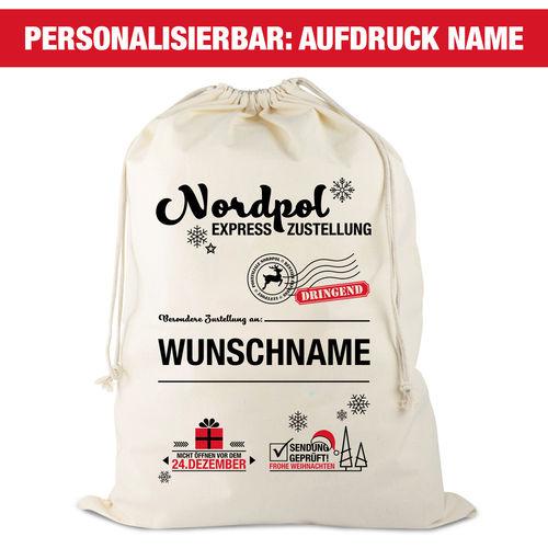 Personalisierbarer Weihnachtsmannsack, natur, Aufdruck: Schwarz Glitzer