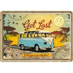Blechpostkarte VW Bulli - Let's get lost