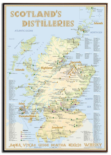 Whisky Distilleries Scotland - Rahmen 70x100cm