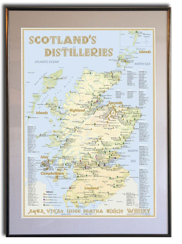 Whisky Distilleries Scotland - Rahmen 50x70cm
