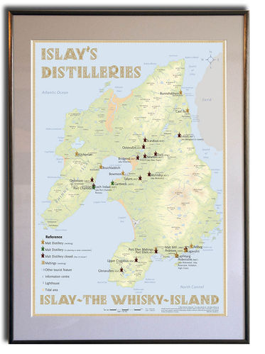 Whisky Distilleries Islay - Rahmen 50x70cm