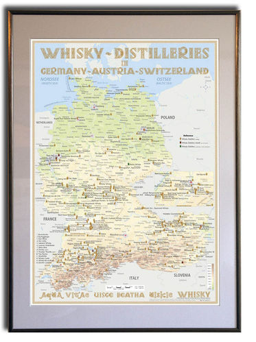 Whisky Distilleries Germany, Austria and Switzerland - Rahmen 50x70cm