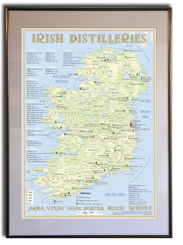 Whiskey Distilleries Ireland - Rahmen 50x70cm