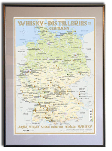 Whisky Distilleries Germany - Rahmen 50x70cm