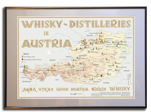 Whisky Distilleries Austria - Rahmen 70x50cm