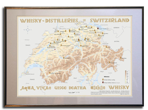 Whisky Distilleries Switzerland - Rahmen 70x50cm
