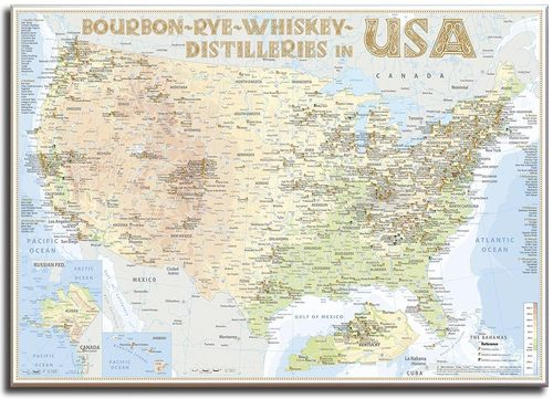 Whiskey Distilleries USA - Canvas 70x50cm