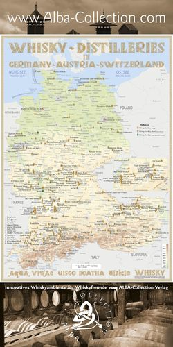 Whisky Distilleries Germany, Austria and Switzerland - RollUP 200x100cm