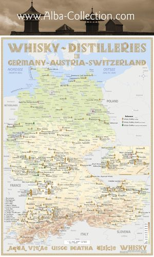 Whisky Distilleries Germany, Austria and Switzerland - RollUP 200x150cm
