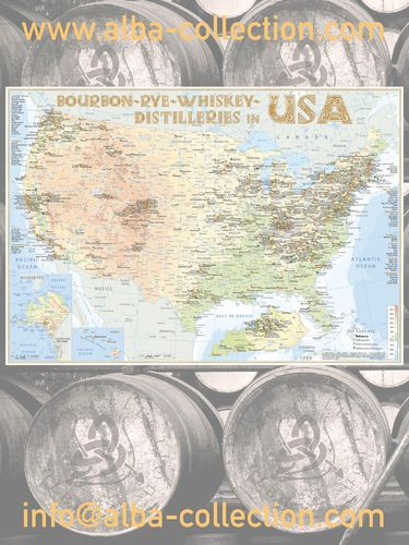 Whiskey Distilleries USA - RollUP 200x150cm
