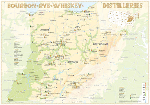 Whiskey Distilleries Kentucky + Tennessee - Poster 100x70cm Special Edition