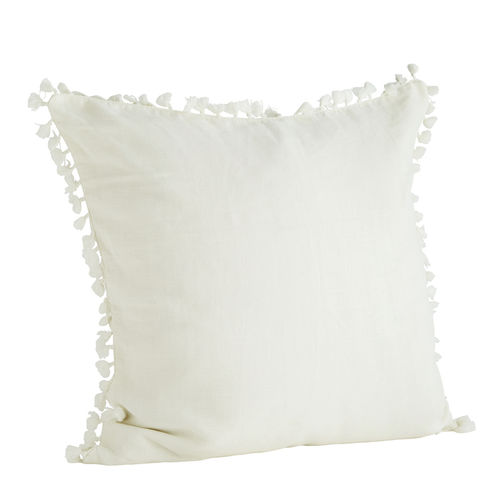 Madam Stoltz Cushion Cover white Tassel