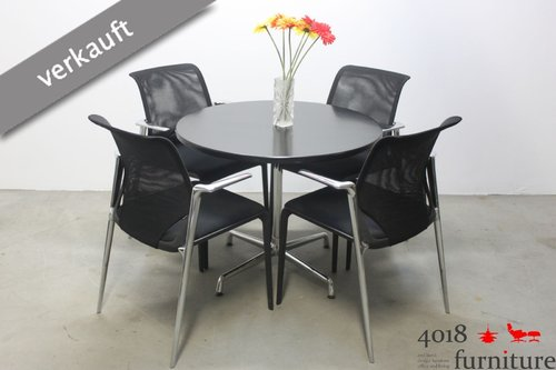 Vitra Charles Eames Contract Table schwarz 90cm Tisch USM chrom