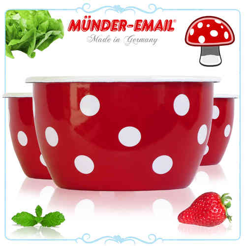 Münder Email - bowl - dots red/white