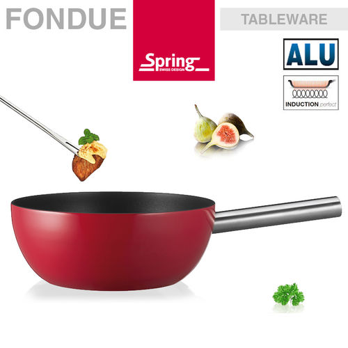 Spring - Fondue pot alu induction red