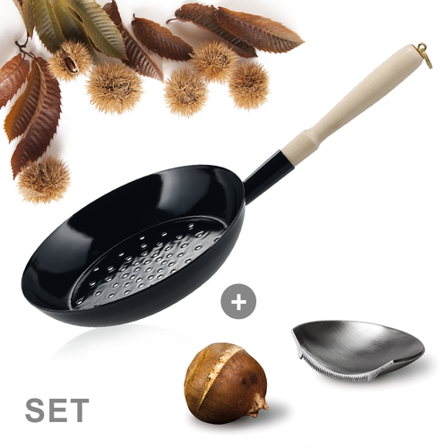 "Set - Enamel Chestnut Pan 26 cm & ""Jack"" The Chestnut Cutter"