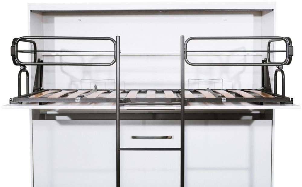 TS Möbel Quer Schrankbett Doppelstockbett Schrankklappbett DUO 80 x 190 cm in Weiß