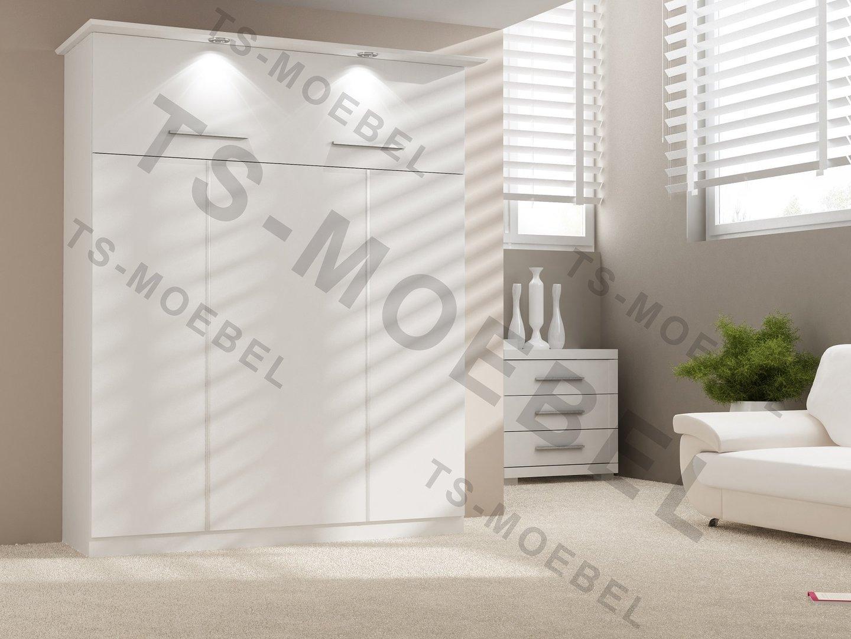 TS Möbel Wandbett 50-W-1 Alu 160x200 cm Holzfarbe: Weiss - Hochkant