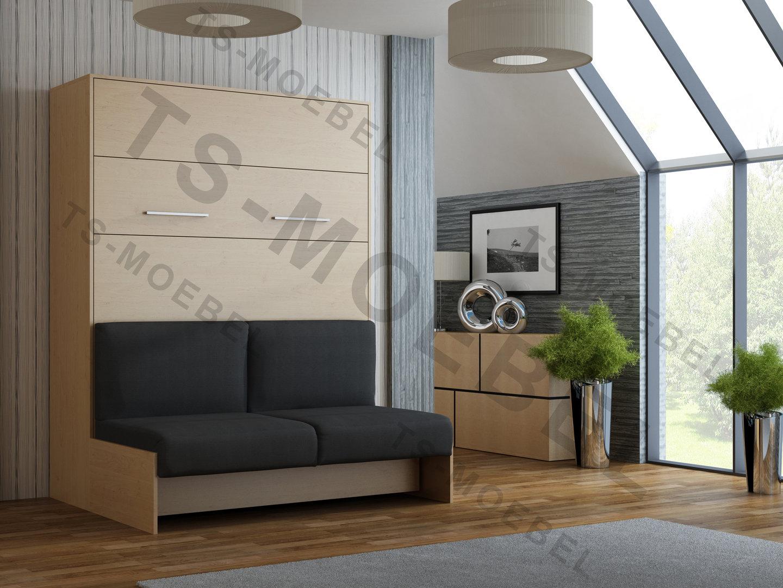TS Möbel Wandbett mit Sofa WBS 1 Classic 160 x 200 cm in Buche