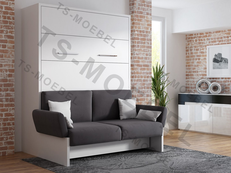 TS Möbel Wandbett mit Sofa WBS 1 Soft 160 x 200 cm in Weiß
