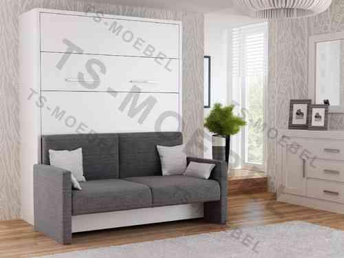 TS Möbel Wandbett mit Sofa WBS 1 Prestige 160 x 200 cm in Weiß