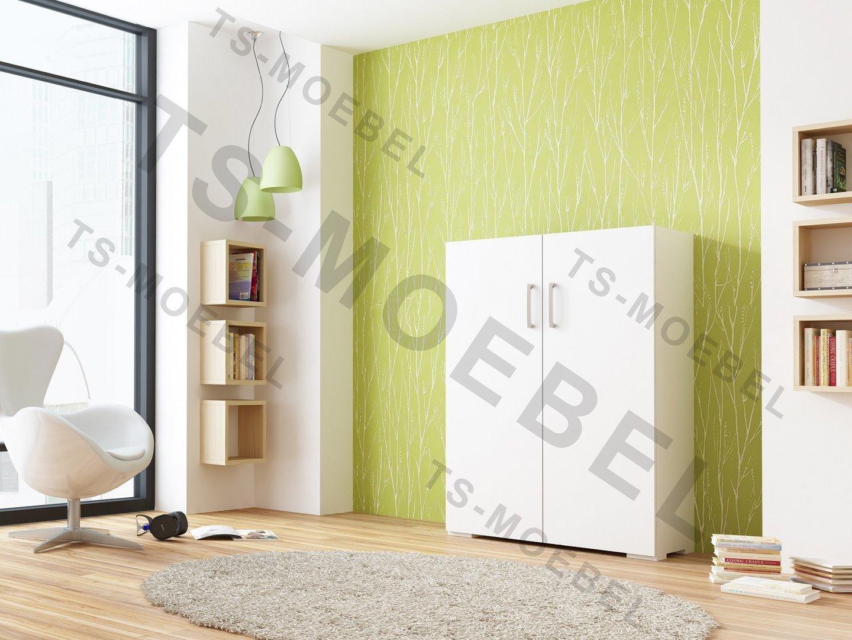 TS Möbel Schrankbett Wandbett Wall-Bed Box 135 x 195 cm, in Weiß