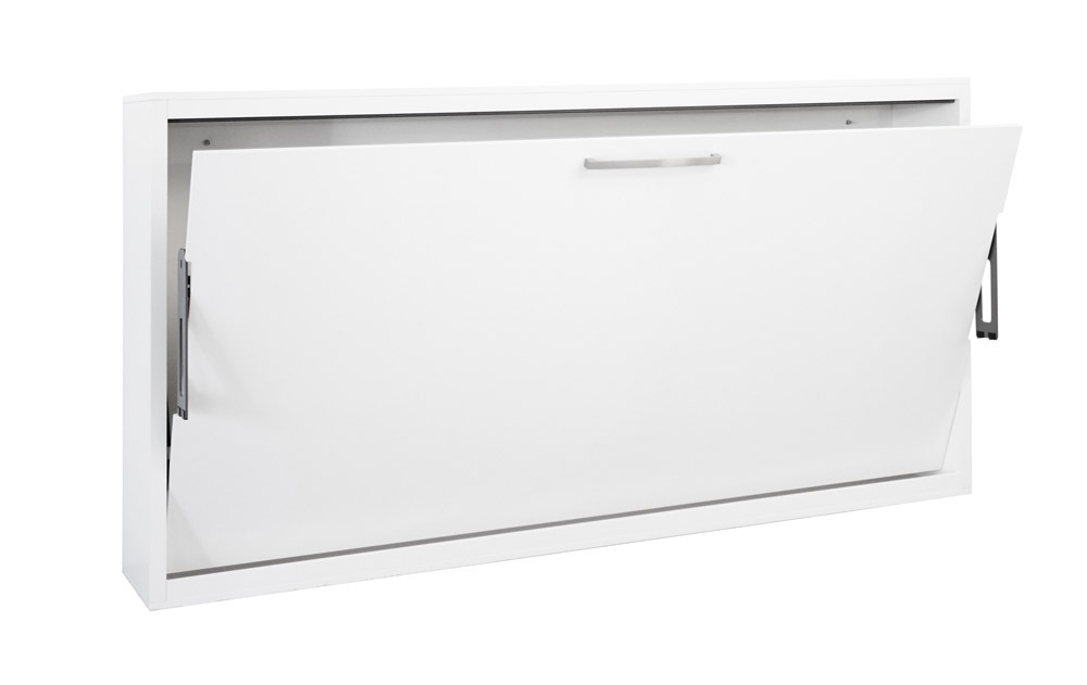 Quer Wandbett Schrankbett Singlo 90 x 200 cm, in Weiß