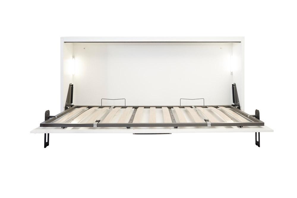 Quer Wandbett Schrankbett Singlo 90 x 200 cm, in Weiß-Buche