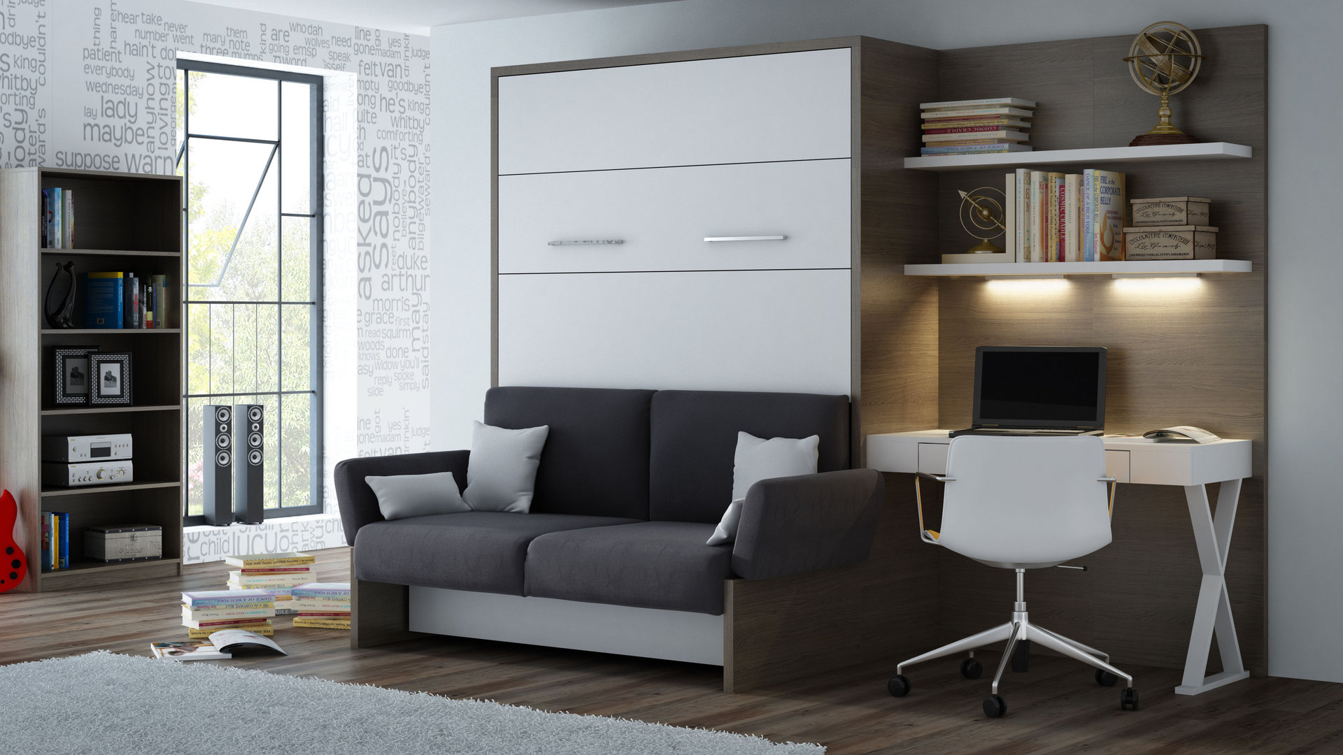 wandbett mit sofa wbs 1 soft office 140 x 200 cm eiche anthrazit. Black Bedroom Furniture Sets. Home Design Ideas