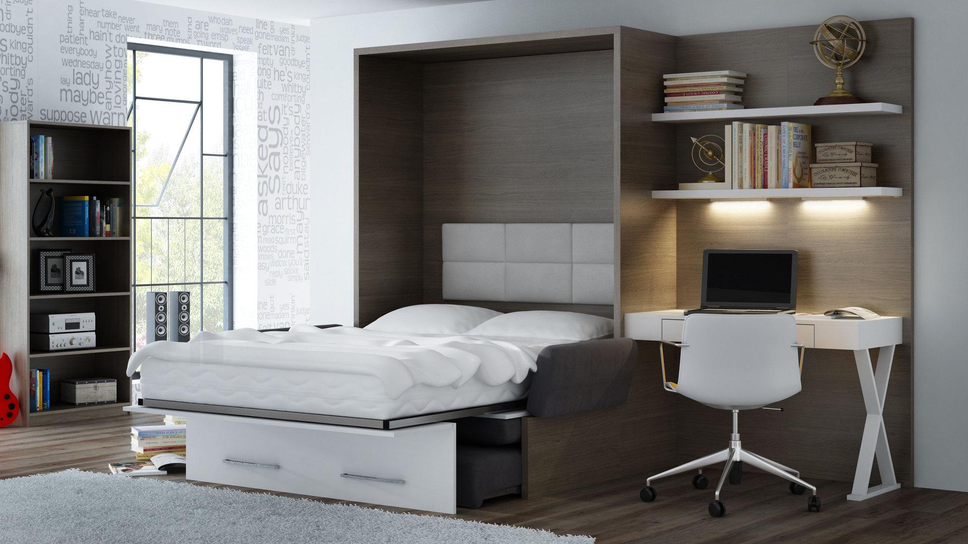 TS Möbel Wandbett mit Sofa WBS 1 Soft Office 140 x 200 cm in Eiche Anthrazit-Weiß