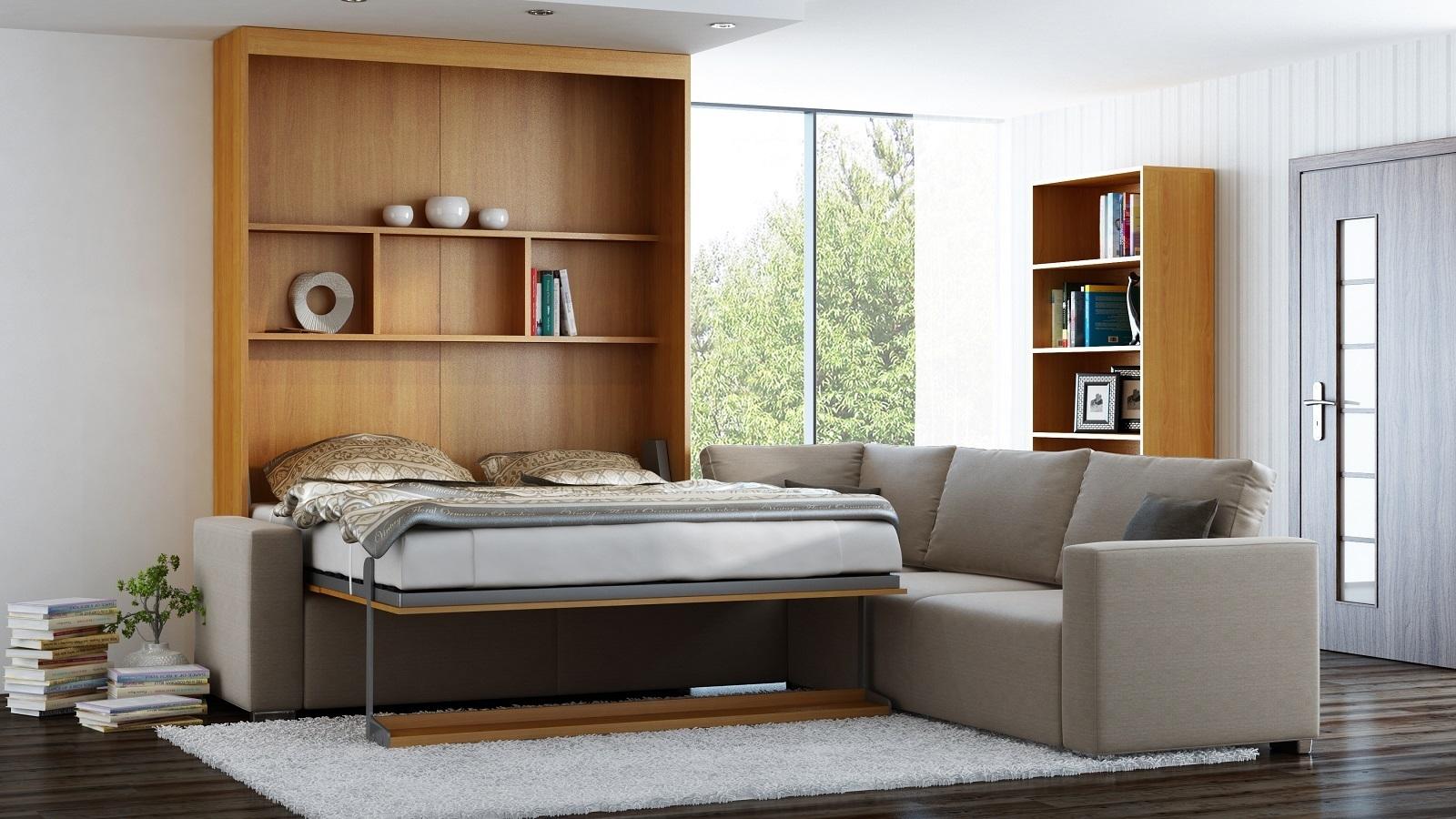 Wandbett mit sofa ecke leggio linea std std 160 x 200 cm kirsche - Wandbett mit sofa ...