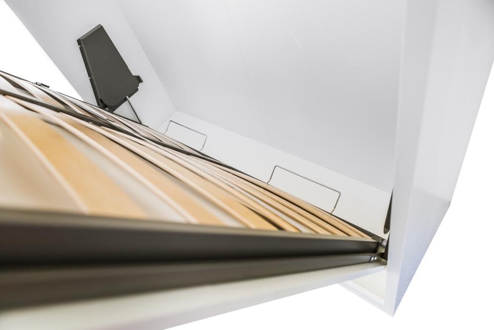 TS Möbel Wandbett Futura 160 x 200 cm, in Weiß Halifax Eiche