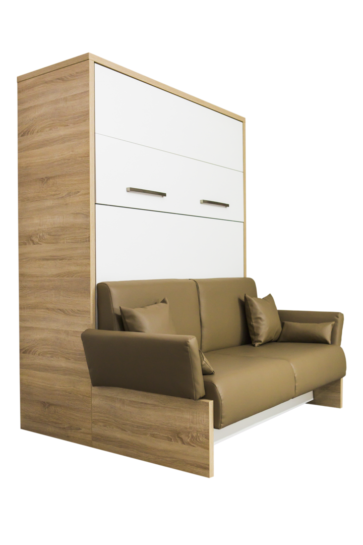 TS Möbel Wandbett mit Sofa WBS 1 Soft 160 x 200 cm Weiß Bardolino Eiche Natur