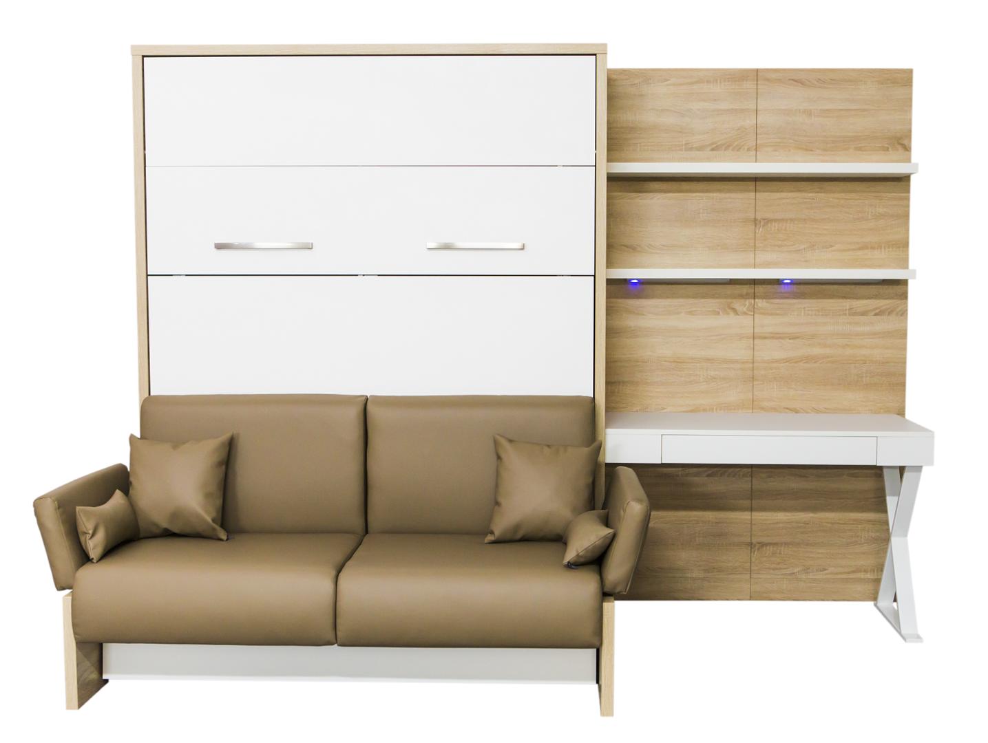Wandbett mit sofa wbs 1 soft office 140 x 200 cm in bardoline - Wandbett mit sofa ...