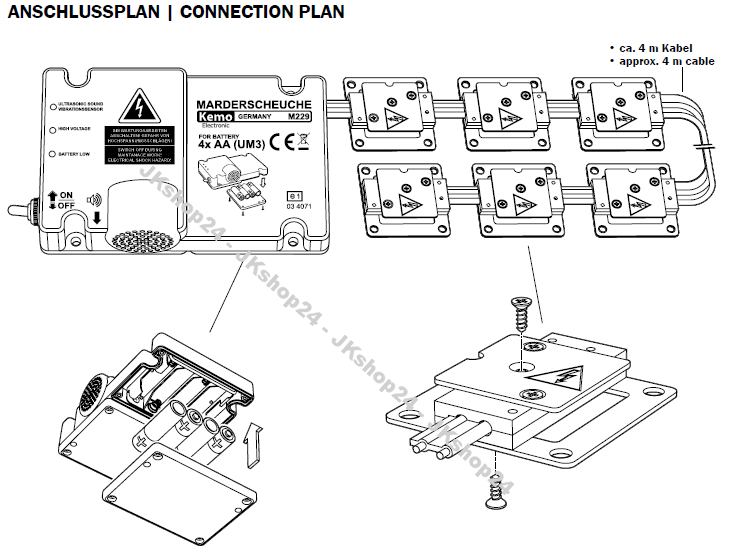 neuheit kemo m229 marderabwehr marderschutz batterie. Black Bedroom Furniture Sets. Home Design Ideas