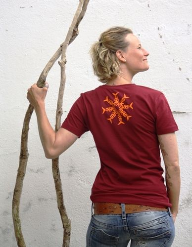 "T- Shirt Damen bordeaux/ orange ""Sonne"""