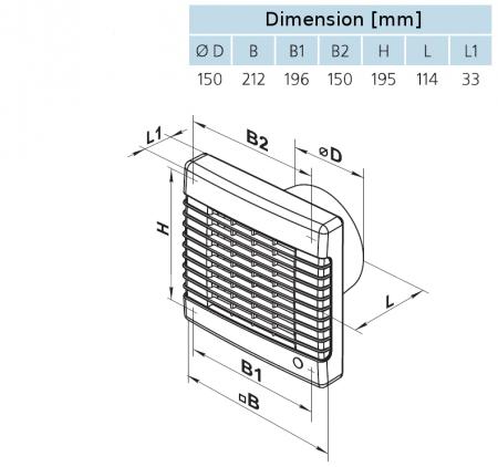 Wandventilator WVZ (Ø 150 mm, für Zuluft)