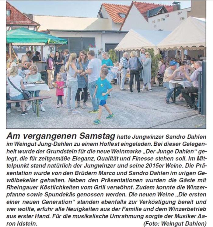 Rheingau Echo Sandro Dahlen Der Junge Dahlen Weingut Jung Dahlen Rheingau
