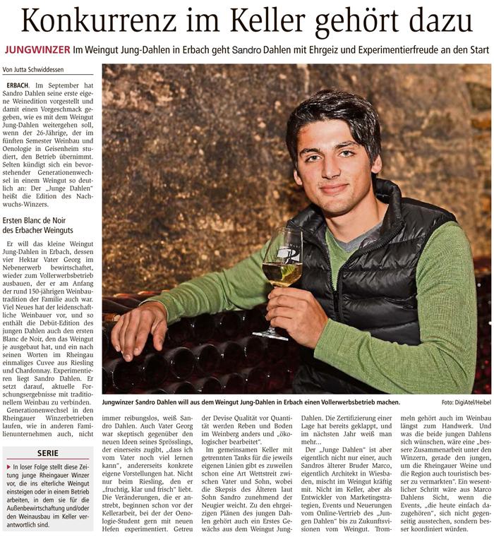 Wiesbadener Kurier Sandro Dahlen Rheingau Der Junge Dahlen Weingut Jung Dahlen