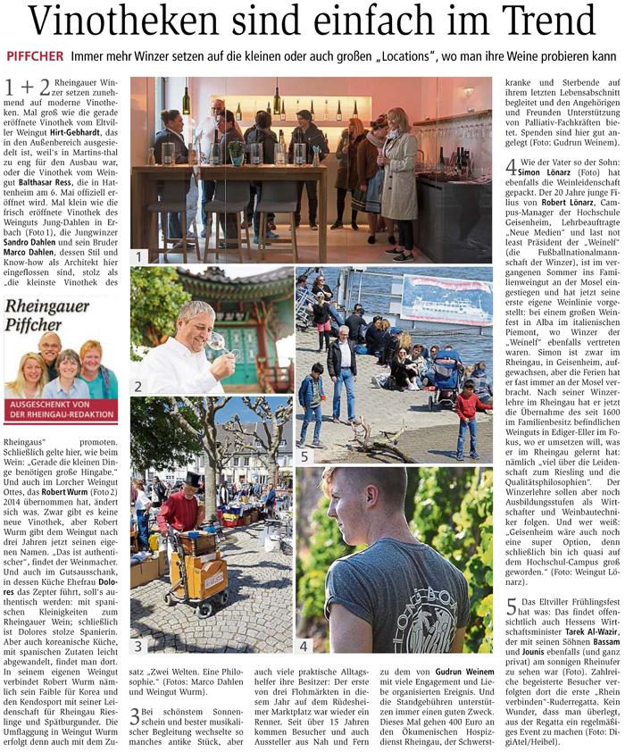 Wiesbadener Kurier Rheingau Vinothek Weingut Jung Dahlen Sandro Dahlen Rheingau