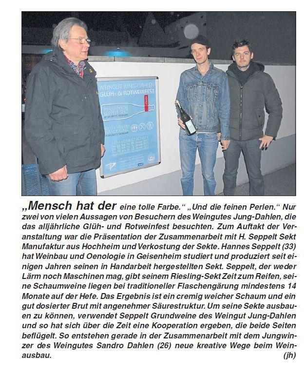 Seppelt Sekt Kooperation Weingut Jung Dahlen Sandro Dahlen Rheingau
