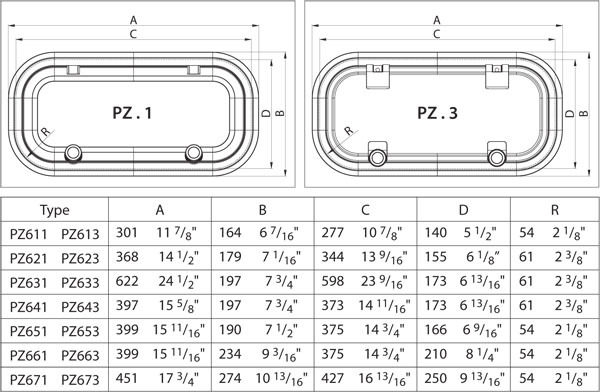 Vetus Bullaugen PZ611 - PZ613 - PZ621 - PZ623 - PZ631 - PZ633 - PZ641 - PZ643 - PZ651 - PZ653 - PZ661 - PZ663 - PZ671 - PZ673 Maße