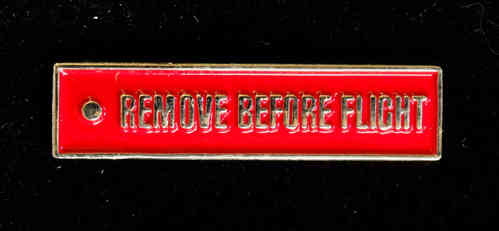 REMOVE BEFORE FLIGHT, emailliert