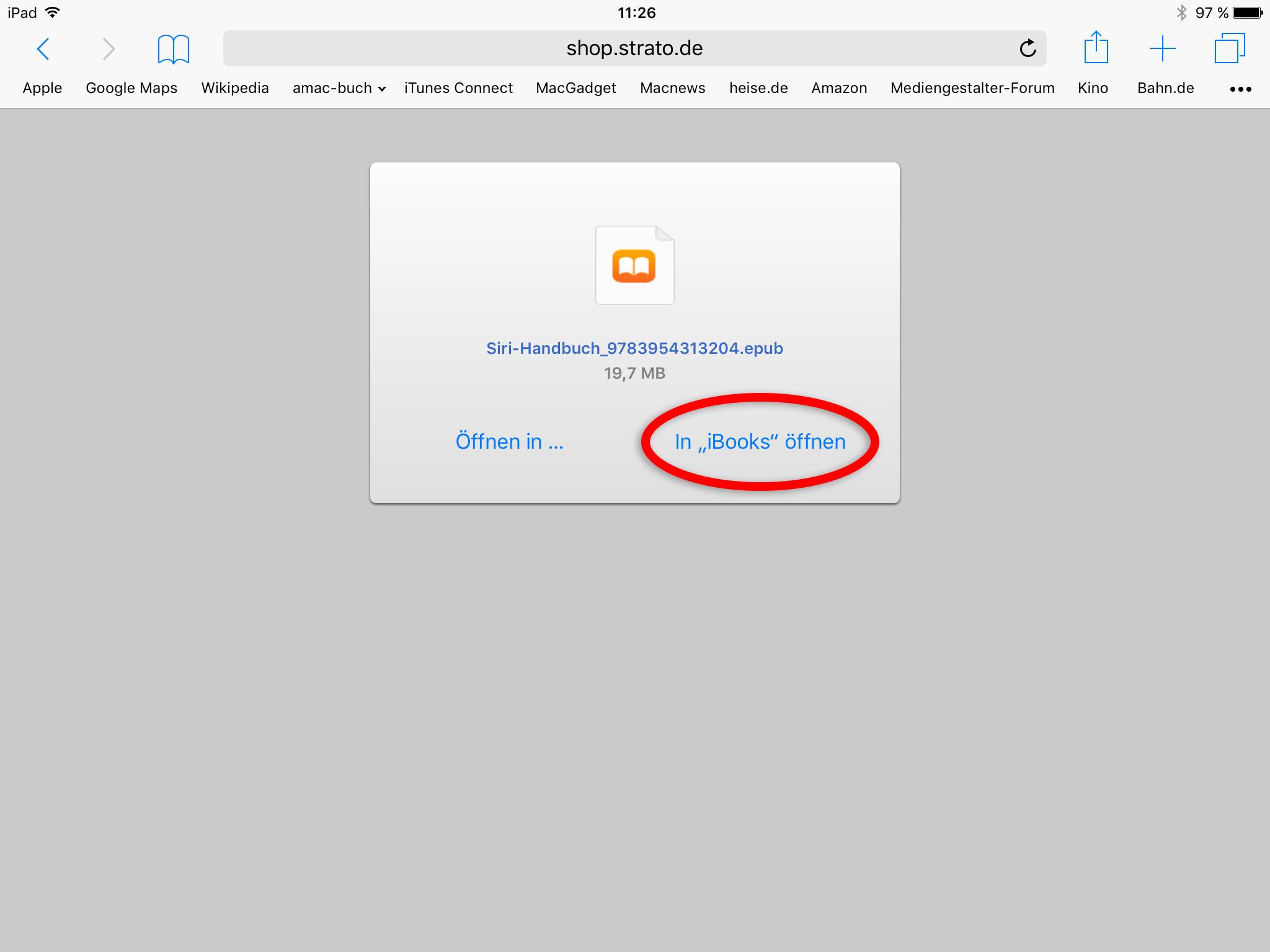 Geladenes E-Book in iBooks öffnen