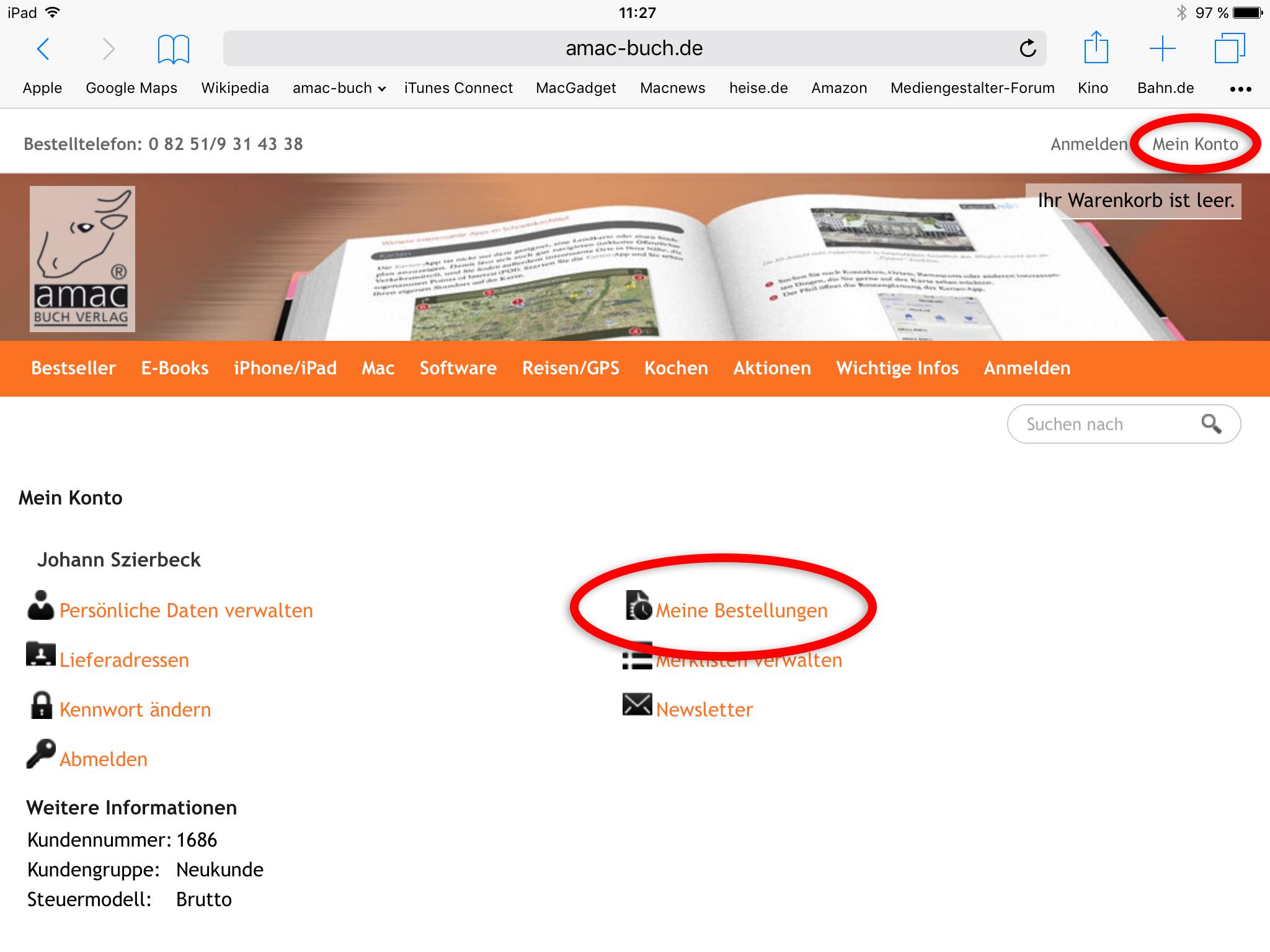 Kontoübersicht auf dem iPad